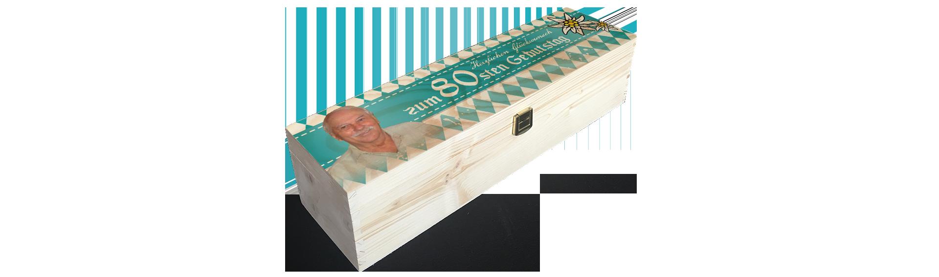 80ster Geburtstag | Holzkiste Weinkiste  bedruckt