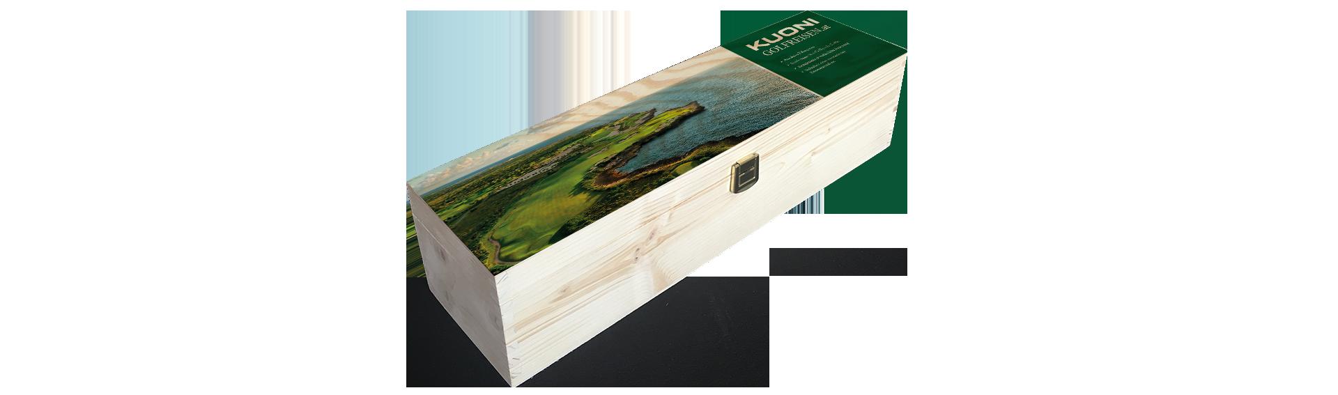 Kuoni Golfreisen | Holzkiste Weinkiste bedruckt