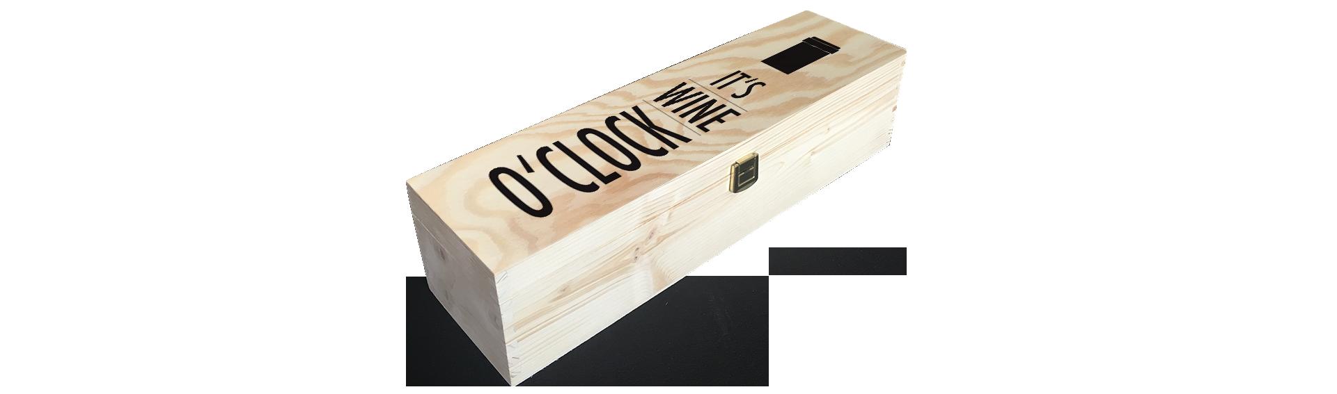 Wine o'clock | Holzkiste Weinkiste  bedruckt