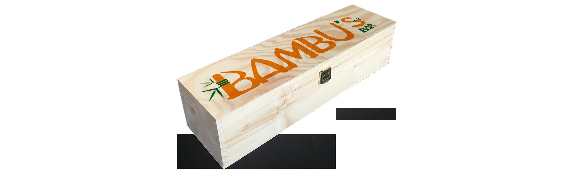 Bambus Bar | Holzkiste Weinkiste bedruckt