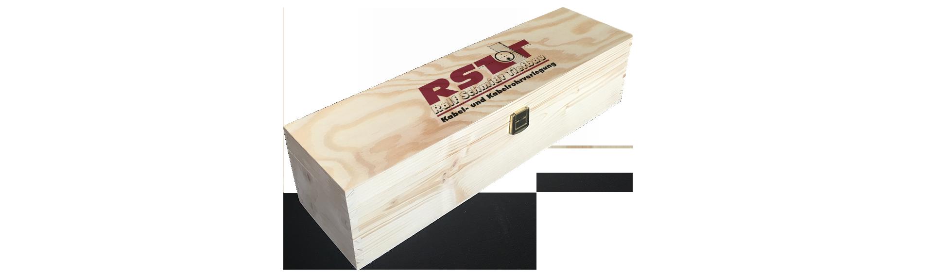 RST Tiefbau | Holzkiste Weinkiste  bedruckt