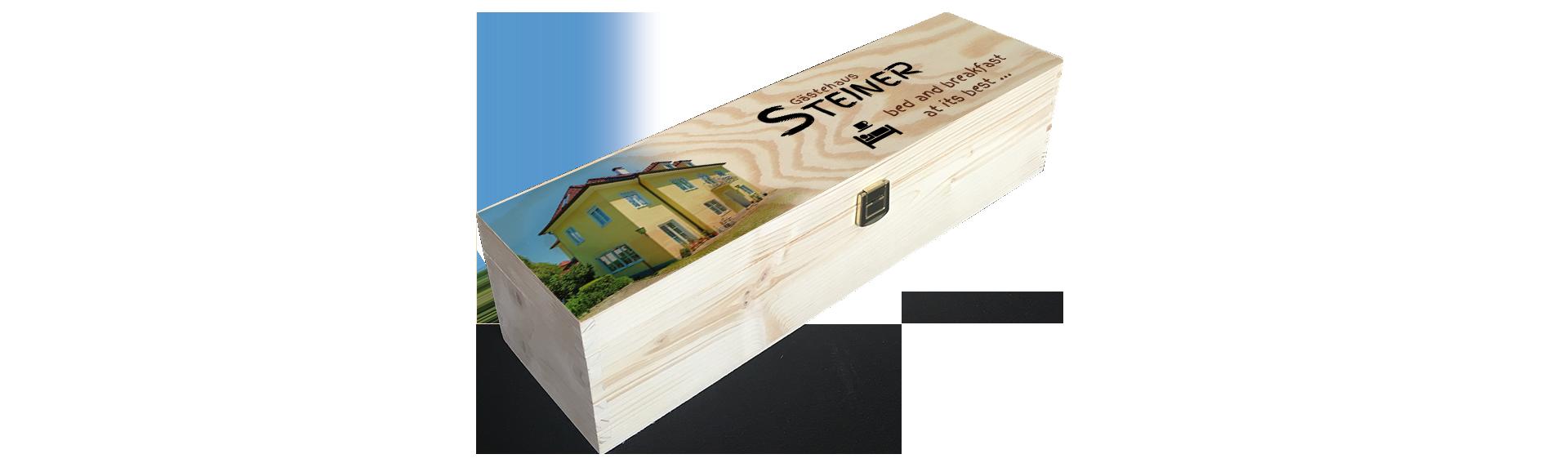 Gästehaus Steiner | Holzkiste Weinkiste  bedruckt
